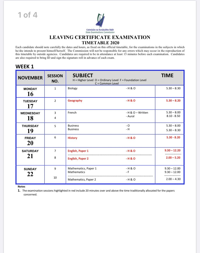 The Leaving Cert exam timetable for November is now available on the below link. 📆📆📆 📍It is important to note that grades from the November exams will not be available in time for CAO and UCAS in the 2020/2021 academic year. 📍 https://t.co/ub8aUEHfUc https://t.co/Vud67SeJPo