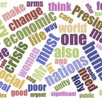 Image for the Tweet beginning: Word cloud for Francis' speech