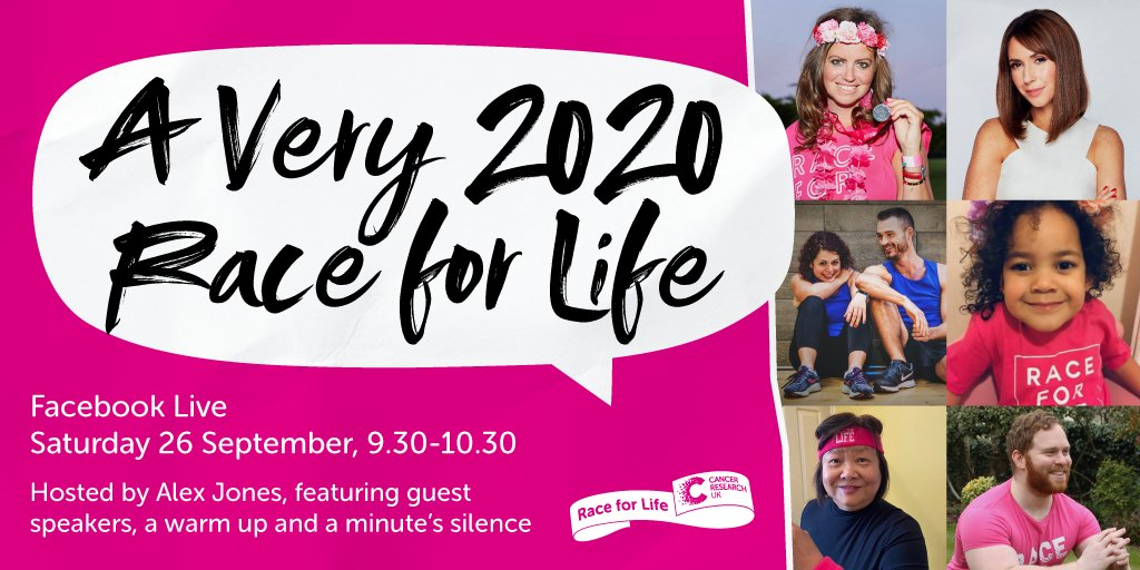 We can't wait to see you all tomorrow for our #Very2020RaceforLife Facebook Live! Join us and our host, @MissAlexjones, on Saturday at 9.30am on our Facebook page, to kick off your 5k with a warm-up and some very special guests… 🏃 Watch live, here 👉 https://t.co/uAb7m2Dunu https://t.co/oNI9iSok8M