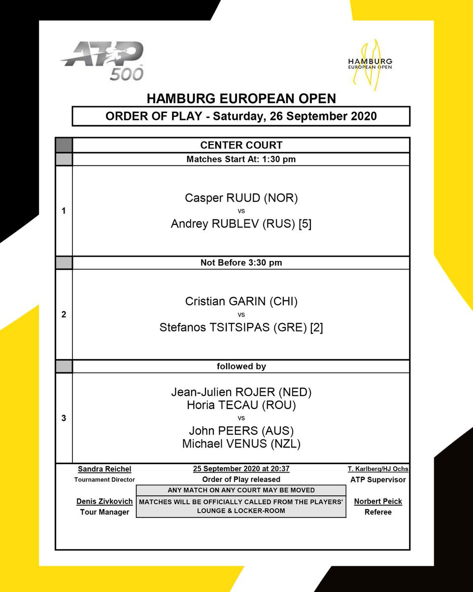 Order of Play - Saturday, September 26 Who do you think will make it into the final? 🤔 https://t.co/Zhib0ZsBbY