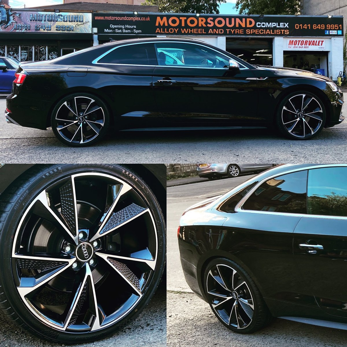 "Audi S5 fitted this afternoon with a new 20"" wheel and tyre package! #motorsoundcomplex #audis5 #20s #wheels #tyres #glasgow #scotland https://t.co/18cKLgNcOL"