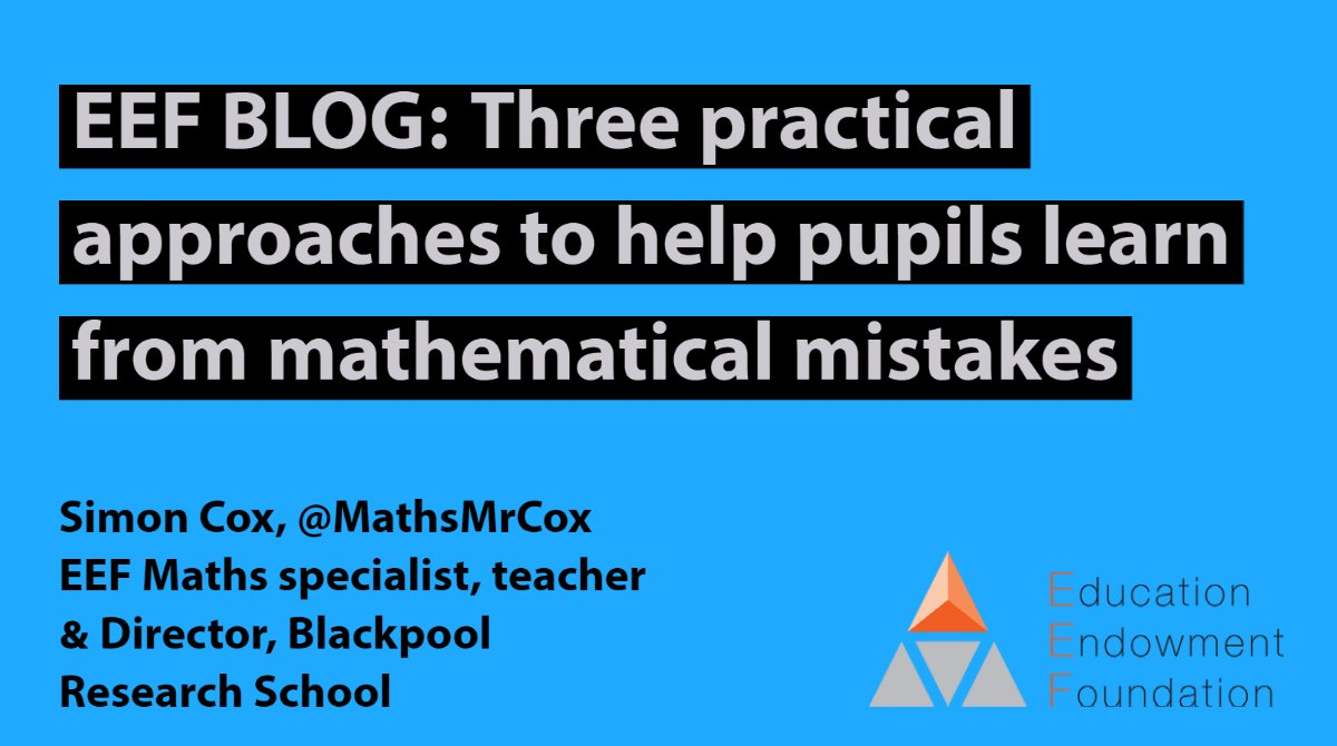 "TACKLING MISCONCEPTIONS IN MATHS  ""Misconceptions and gaps in knowledge are nothing new to mathematics teachers , so it's worth exploring the existing evidence around ways to tackle them,"" writes EEF's Simon Cox @MathsMrCox   Read his blog here: https://t.co/o9iopCQMHD https://t.co/opX1lLMcRi"