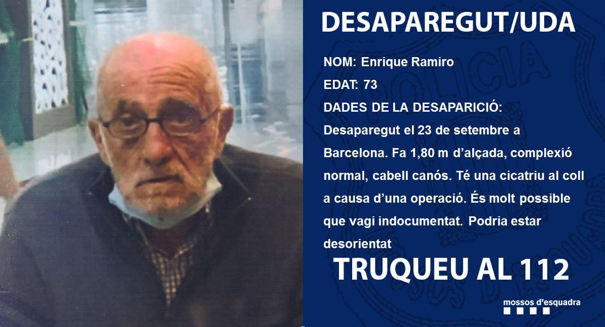 L'Enrique Ramiro va desaparèixer al districte d'Horta-Guinardó (BCN) el 23 de setembre. Ajuda'ns a trobar-lo  Enrique Ramiro desapareció en el distrito de Horta-Guinardó (BCN) el 23 de septiembre. Ayúdanos a encontrarlo https://t.co/BbTYePBqOW