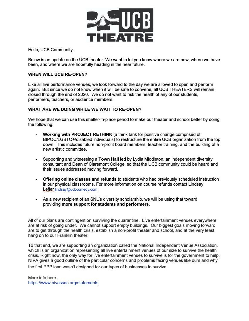A statement from the UCB4 regarding theater operations and our work with PROJECT RETHINK. bit.ly/330Qrsk
