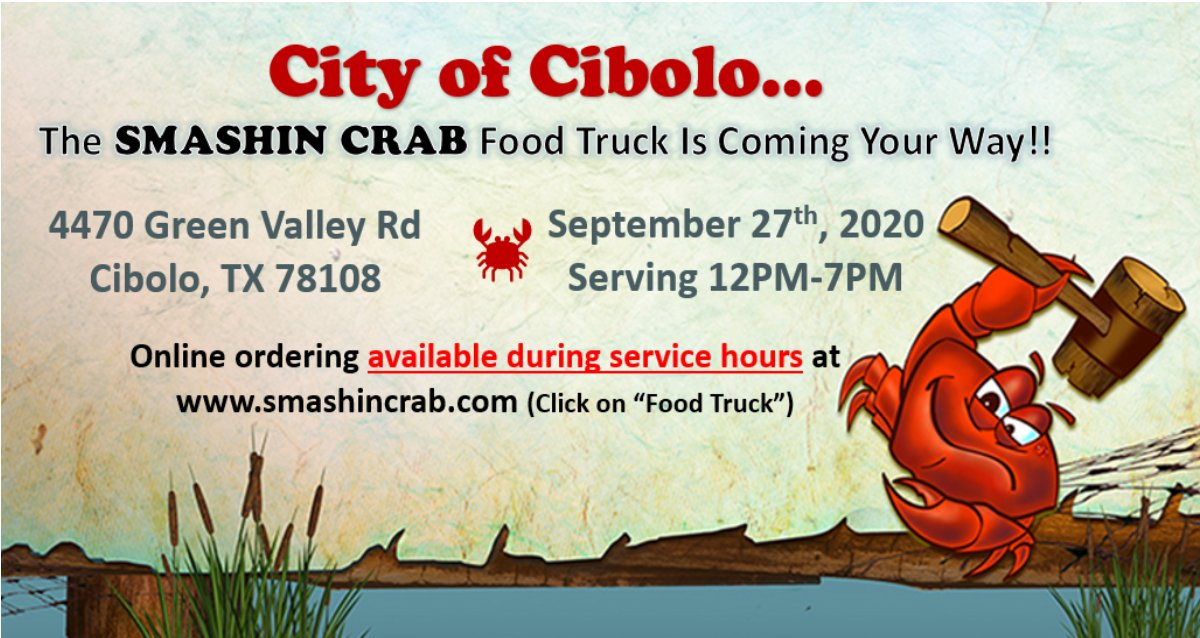 Smashin Crab will be in the City of Cibolo on Sunday September 27th from 12PM-7PM!   Don't forget! Our Bandera Rd. and Stone Oak locations are open daily!  #smashincrab #smashincrabfoodtruck #foodtruck #foodie #crab #seafood #seafoodboil #weaintforkinaround #safoodtruck https://t.co/nZTlQKhREE