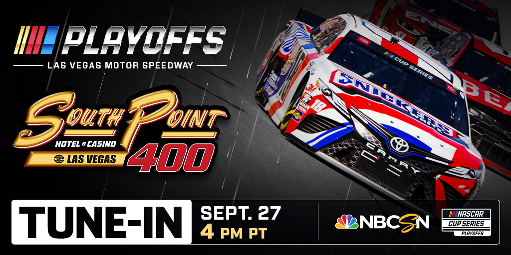 🚨Tune-In ALERT🚨 All bets are on in 1 hour as Cup Series drivers take on @LVMotorSpeedway in the #SouthPoint400 Watch on NBCSN at 7:30 PM EST Whos your pick to win big? #NASCARPlayoffs #ItsBristolBaby