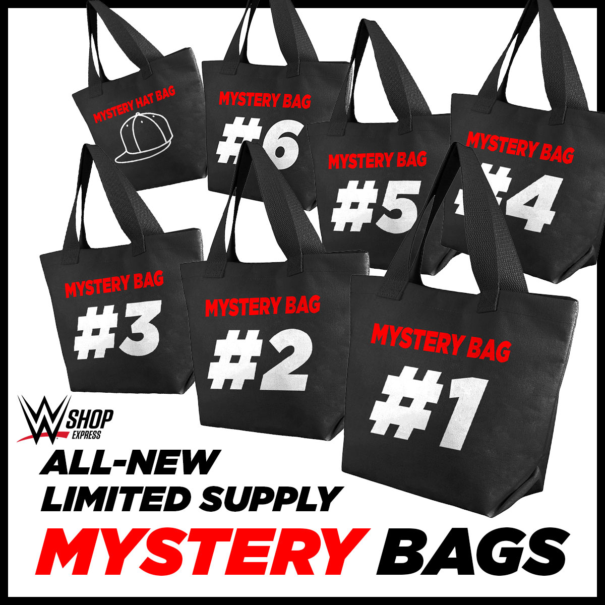 Available now at #WWEShopExpress: Do you like an amazing deal? Then our Limited Edition Mystery Bags are perfect for you! Each bag contains 4 #WWE t-shirts from our archives for an unbelievable price & each bag number contains a different selection.  https://t.co/gETnGtVNvd https://t.co/dV7OK9vKgm