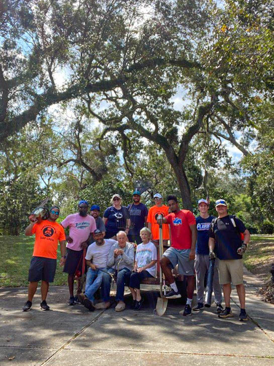House calls! The Blue Wahoos spent Friday visiting local citizens in need to help clear debris from the hurricane at their homes. This morning, the team helped 91-year-old Vic G. reclaim his yard after the storm.