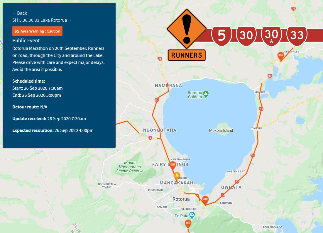 ROTORUA, BAY OF PLENTY - DELAYS - 11:15AM Due to the Rotorua Marathon being run today, there are #DELAYS around Lake Rotorua with traffic management in place on SH5, SH30, SH30A, and SH33. Please follow the directions of contractors & slow down when passing competitors. ^IF https://t.co/ERbhTqAN3Y