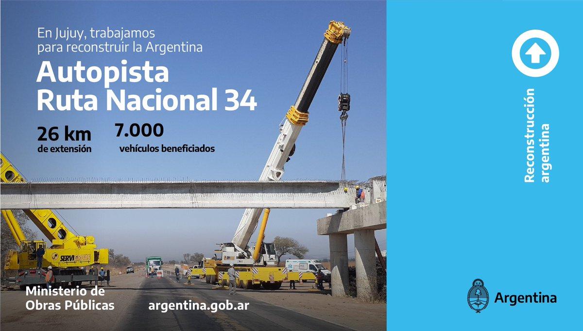 📍En Jujuy, estamos transformando la Ruta Nacional 34 en Autopista  Una obra a lo largo de más de 26 km, entre el acceso a Salta y San Pedro de Jujuy, que mejorará la circulación e impulsará el desarrollo productivo en la región.  https://t.co/hiDDtJtMT2  #ReconstrucciónArgentina https://t.co/YqhUhDf7HO