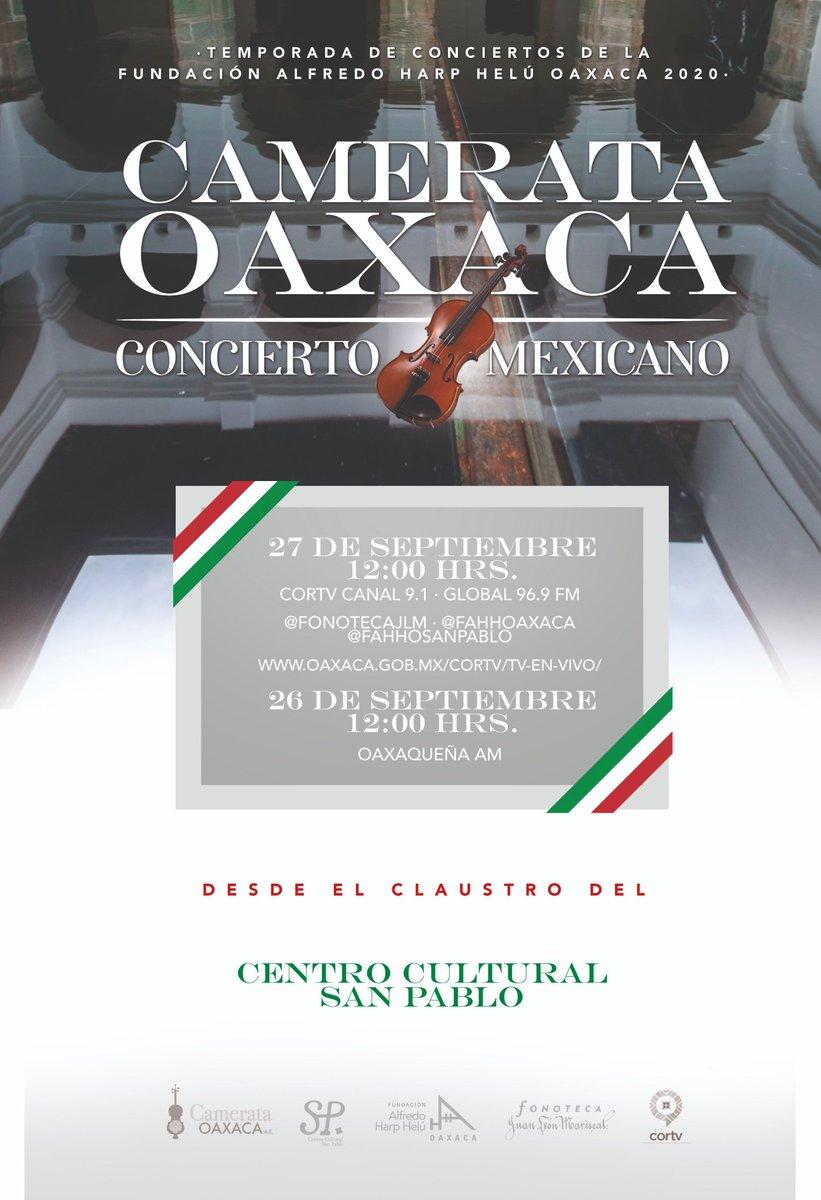 ¡No te lo pierdas! Música mexicana con Camerata Oaxaca @santacultura @SECULTA_GobOax @isabelgporrua @fahho_sanpablo @FundacionAHHO @GobOax @aaguilaroax @AmoaOaxaca @Quadratinoaxaca @IvetteMurat @SECULTA_GobOax @cortv @CORTV_Radio @alfredoharphelu  @museomio @GuerrerosOax https://t.co/nbXWtm0Y9z