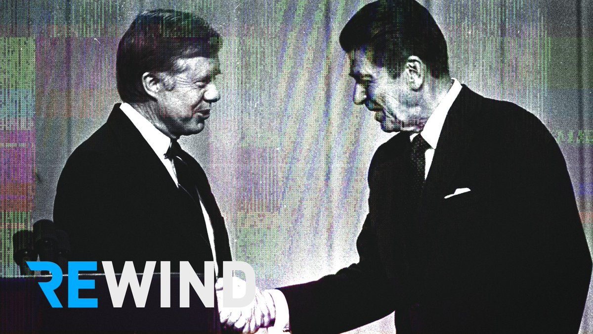 Taking it back to 1980: Pres. Jimmy Carter had an abysmal approval rating — but the race to replace him remained tight.  Ronald Reagan had a single chance to prove himself: A head-to-head debate, one week before Election Day, with 80 million Americans watching. https://t.co/NpZwP4cM2H