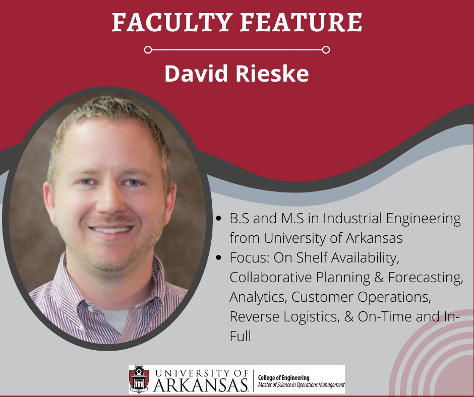 """Faculty Feature Friday! David Rieske! He says his courses follow the MSOM motto of """"Learn it Today, Use it Tomorrow""""!  """"I relish the shared learning journey. In the OMGT program, we have the opportunity to share classroom material and how it relates to real-world scenarios. #uark https://t.co/lxmQ4rlC9K"""