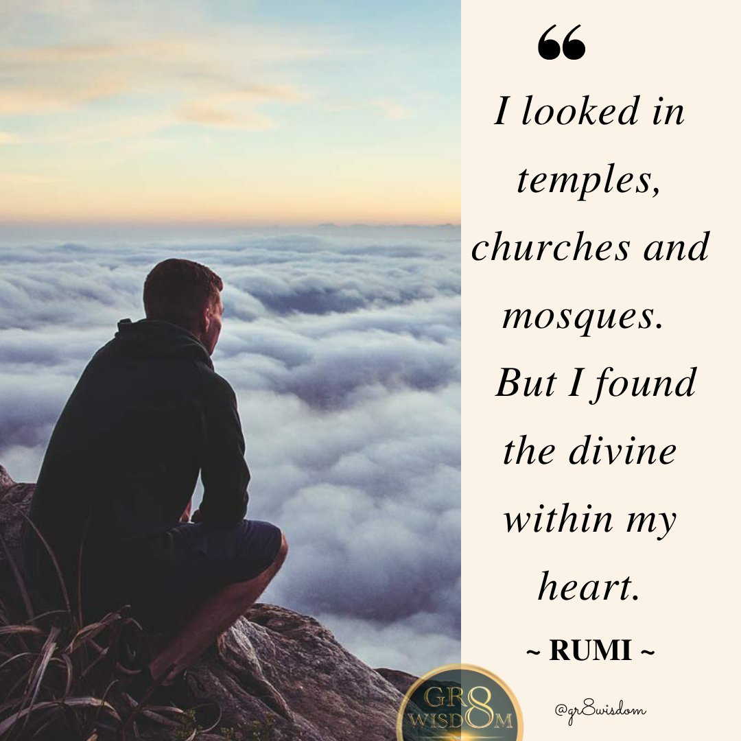 Divinity is within.  Everyone's life journey matters.  Everyone's life journey is worthy. There is no need for validation from the outside world. #gr8wisdom #innerwisdom #greatwisdom #rumi #love #divinityiswithin #wisdom #divinity https://t.co/ZV3Lrahu1V