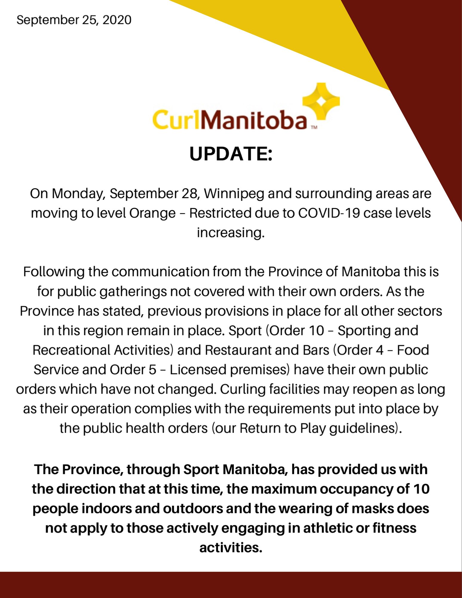 Assiniboine Memorial Curling Club Winnipeg And Area Covid Level Orange Update Mandatory Mask Update