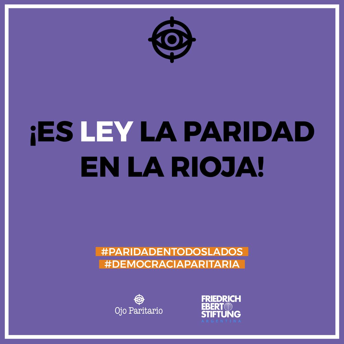 ¡Avanza la ola paritaria! 💜✊ La legislatura de #LaRioja aprobó por unanimidad la #LeyDeParidad de género en la provincia para cargos electivos, legislativos, deliberativos y partidarios. https://t.co/KAEhF1y5xB