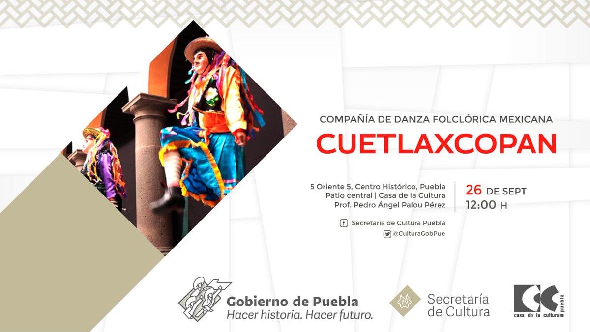 💃🎶Pasa un fin de semana lleno de folclore y música con la Compañía de Danza Folclórica Mexicana Cuetlaxcoapan.  👀👉Acceso máximo a 40 personas.  ¡Te cuidas tu, nos cuidas a nosotros!  #ArteFlolclorCulturaDePuebla #FomentoCulturalPuebla https://t.co/DsOyiVn8Y9