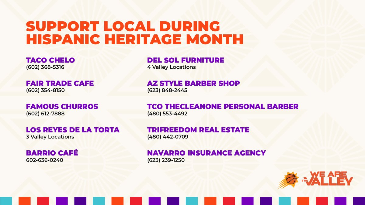 We are proud to support our Hispanic community whose small businesses continue to grow our Arizona economy.    We encourage our fans to support local this weekend!   #HispanicHeritageMonth https://t.co/NrZqIlzIyR