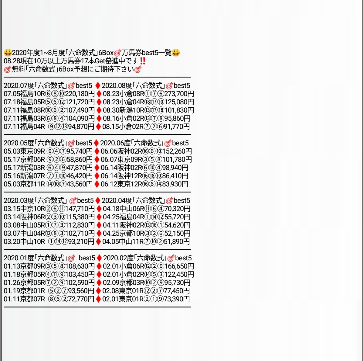 09.26中京05R馬単、三連単6頭Box .F予想公開09.26中京05R❶❷❸❹❺❻六命数.6馬番  ②④⑥⑧⑨⑩各軸馬単3点、三連単F12点⑧⇒④⑥⑨⇒②④⑥⑧⑨⑩④⇒②⑥⑧⇒②④⑥⑧⑨⑩⑩⇒⑥⑧⑨⇒②④⑥⑧⑨⑩②⇒⑥⑧⑩⇒②④⑥⑧⑨⑩他のレースはで販売中‼️