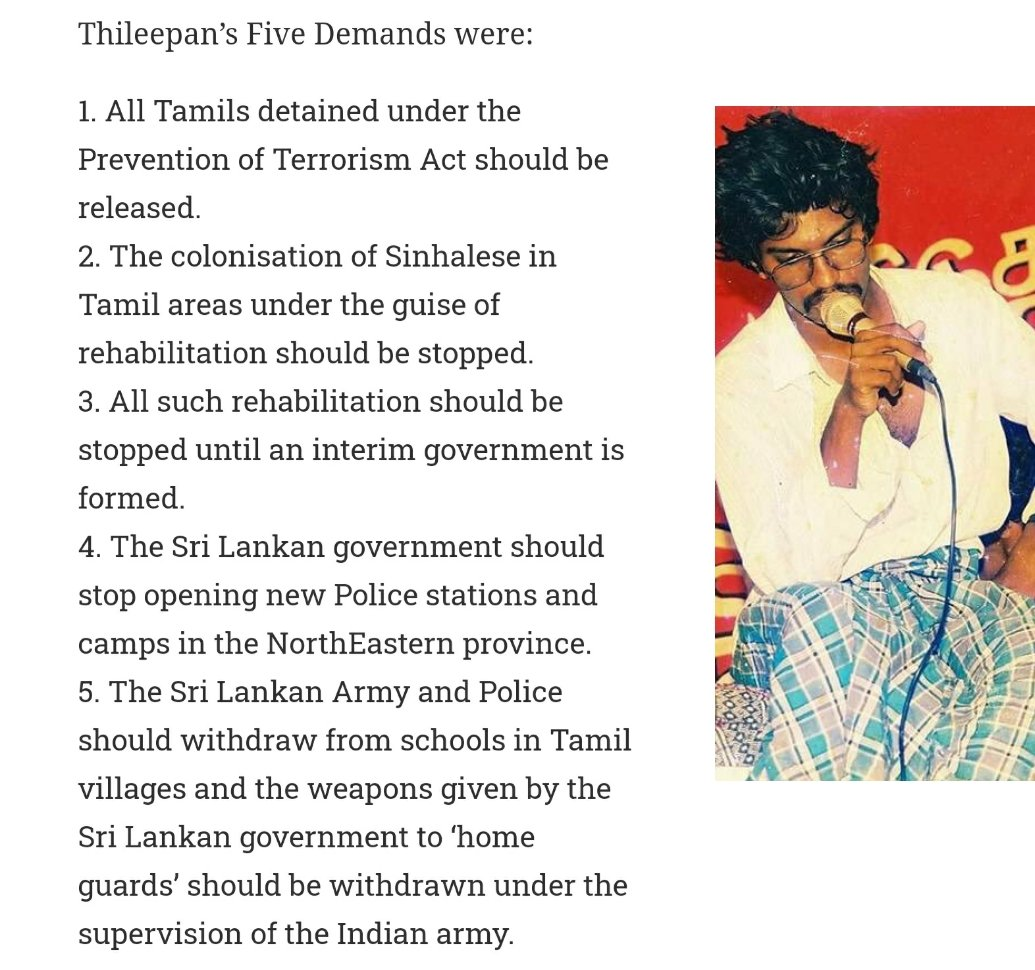 All the Five demands of Annan Thileepan were in line with Indias then foreign policy. #Thileepan didnt demand anything more than what was promised by India. Then why did India refuse to accept his demands? It was because India wasnt true to its commitments.