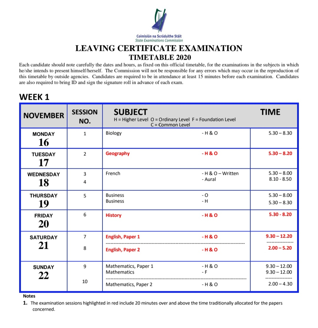 #LeavingCert2020 Timetable for those students sitting written exams in November. ⬇️⬇️⬇️ https://t.co/xVmTwW7smh