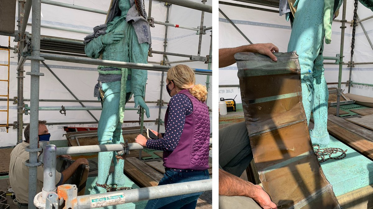 """Over decades corrosion has eroded away most of the original patina on Enoch Smith Woods's """"Nathan Hale"""". The conservation team has been conducting historical & field research to determine its original color. Signs point to a warm brown. Follow along as treatment continues. https://t.co/Zvx5IfYcja"""
