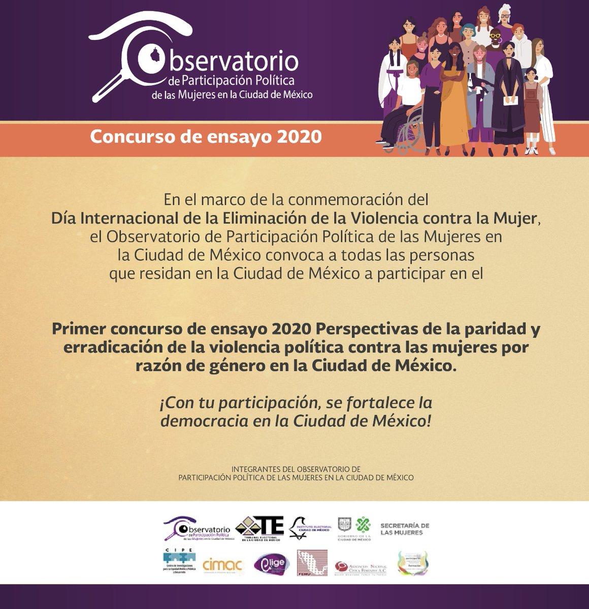 📢#CONVOCATORIA   Participa en el Primer #Concurso de ensayo 2020: 'Perspectivas de la #Paridad y erradicación de la #ViolenciaPolítica contra las #Mujeres por razón de género en la #CDMX'!.   🗓️Fecha límite 30 de octubre del 2020.  📄Revisa las bases en: https://t.co/j4DVSVXAP6 https://t.co/9MFnBcOHnI