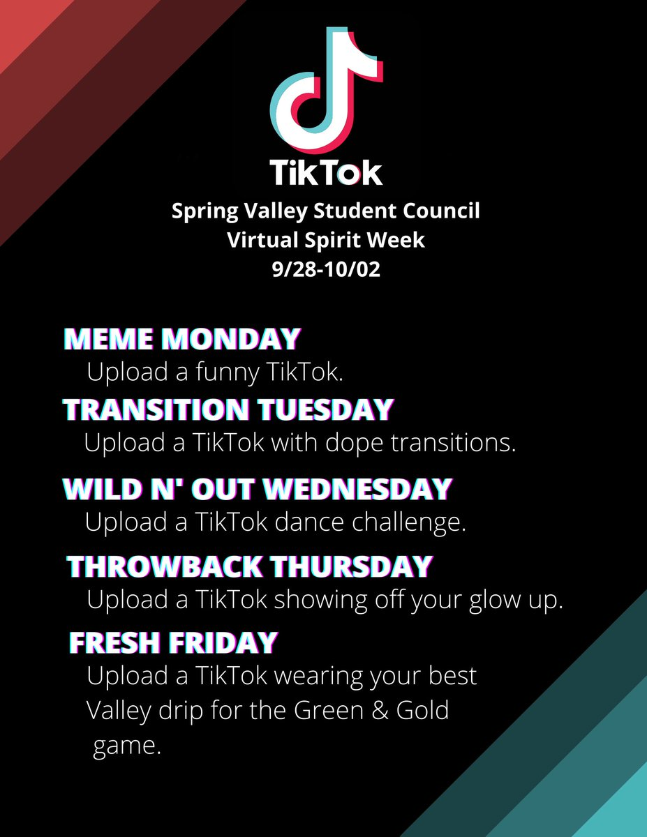 What's up, Vikes? Get ready for Virtual Spirit Week!! Make sure to tag our TikTok account (@svhstuco) in all your uploads. The best TikTok each day will receive a prize that can be collected NEXT FRIDAY at our first home game. Can't wait to see all your videos! https://t.co/xD2dfwDczD