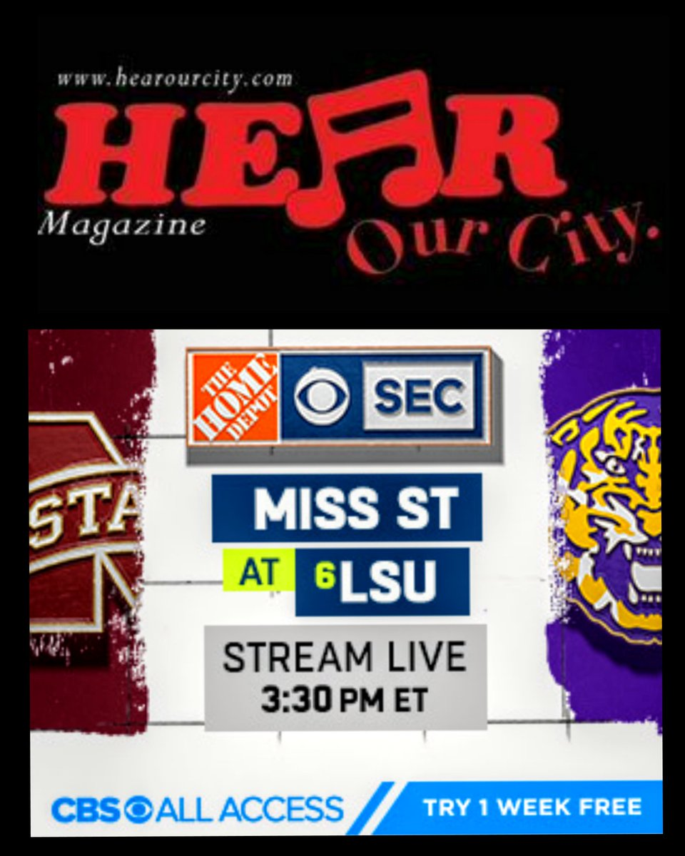 Stream Mississippi State at #6 LSU live Saturday, 9/26 at 3:30pm ET on CBS All Access Try it FREE now!  Stream @ https://t.co/XAvStL9oPH   #football #mississippi #LSU #collegesports #CollegeFootball #game #atlanta #saturday #Alabama #auburn https://t.co/rStIvGpORb