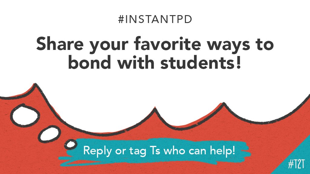 T @MsAshleysSchool is looking for engaging ways to bond with her new learners – and she'd love to hear your suggestions!   What are your go-to strategies for building strong relationships with your Ss?  #InstantPD #KidsDeserveIt #StudentEngagement #ChampForKids https://t.co/Lxhn6I0Dcu