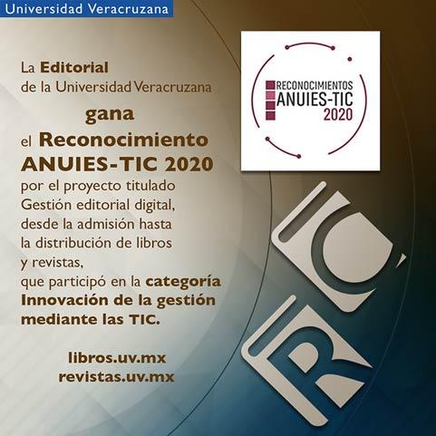 """#LoLeíEnUniverso La @EditorialUV ganó el Reconocimiento ANUIES-TIC 2020, por el proyecto """"Gestión editorial digital, desde la admisión hasta la distribución de libros y revistas"""". ¡Enhorabuena! Detalles en: https://t.co/yN7IORenId #OrgulloUV https://t.co/LO2MoNvDwm"""