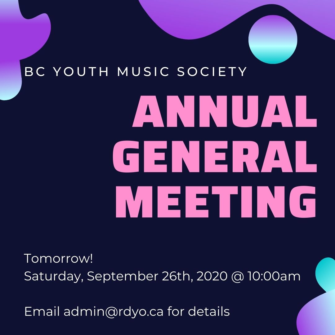 Our AGM is tomorrow! Join us online Saturday, September 26th at 10:00am to discuss our previous year and look forward to our upcoming season.  🎵 🎶 🎻 🎺 🥁  Email admin@rdyo.ca for access    #youthorchestra #richmondbc #deltabc https://t.co/6Uk2EwazdD