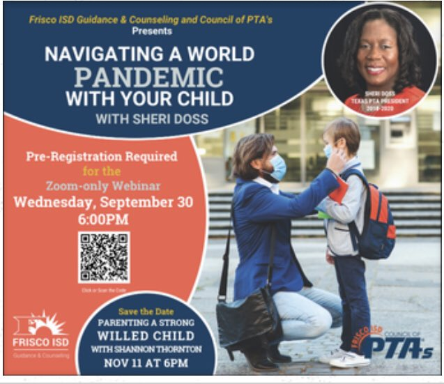 Navigating a World Pandemic With Your Child: Guidance and Counseling and FISD PTA will be co-hosting a parenting event Wednesday, September 30th at 6:00 PM via zoom. @CoyMillerElem @FISDCounseling #StrongerTogether https://t.co/azTFZArm0m