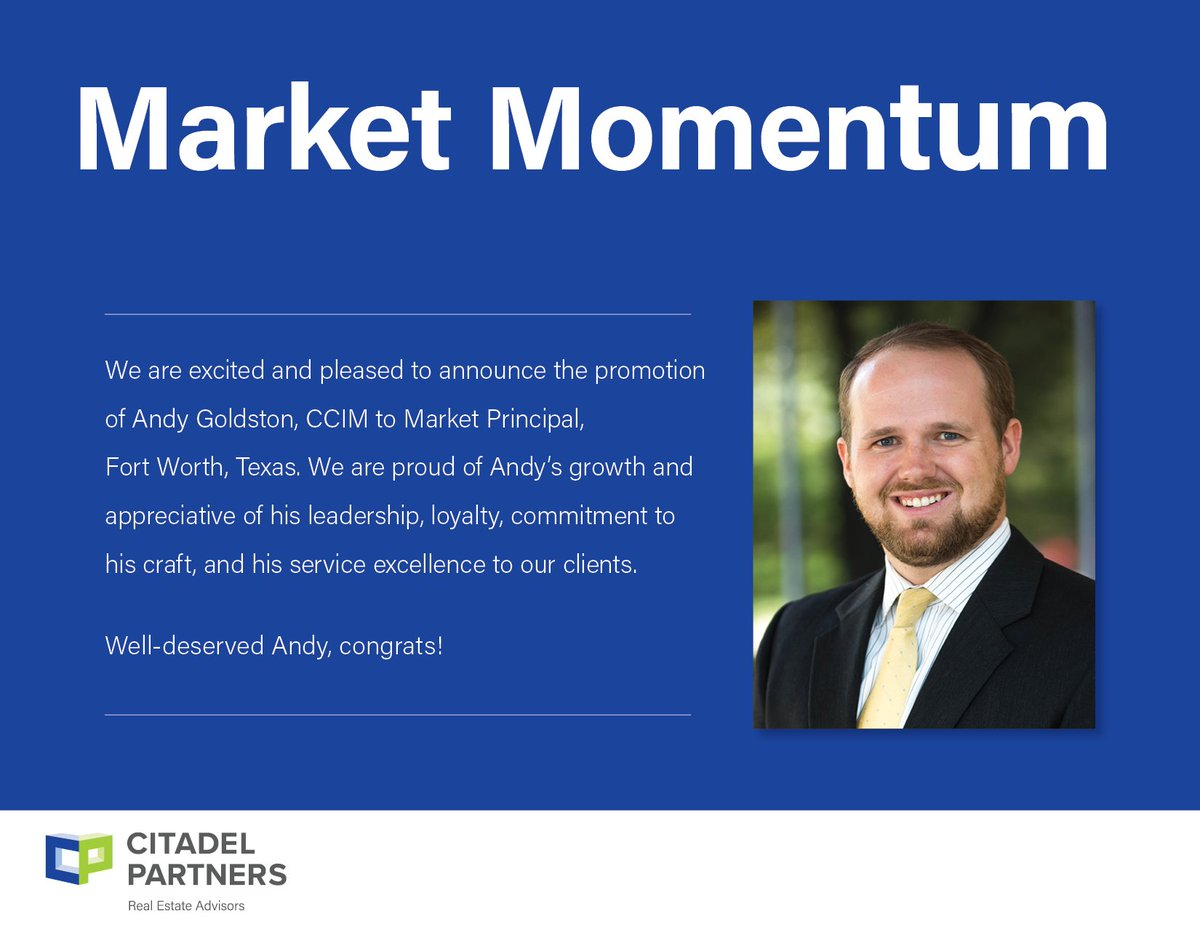 test Twitter Media - Congratulations Andy Goldston, CCIM!  #citadelpartners #dfwcommercialrealestate #MarketPrincipal https://t.co/9uyWfRm6Nz