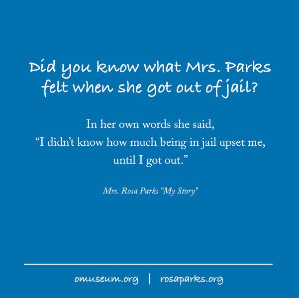 Did you know what Mrs. Parks felt when she got out of jail?  #LoveIsAllThatMatters #StartAMovementForHumanDignity #SitDownToStandUp #MontgomeryBusBoycott #startamovement #BeTheChange #rosaparks #inherownwords #loccrowdsourcing #libraryofcongress #BHM #omuseum #BLM https://t.co/5FKtK3tmhp