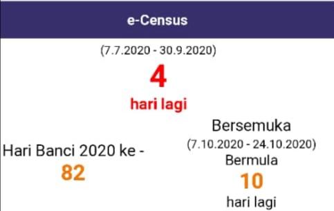 4 hari lagi sebelum Fasa pertama Banci Malaysia 2020 secara dalam talian (e-census) berakhir. Ayuh semua kita laksanakannya. Untuk keterangan lanjut, layari https://t.co/7I47Grjnvo sekarang.  #DOSM #Banci2020 #MenghitungMalaysia #MyCensus2020 #KPDOSM https://t.co/83RcRy3LgY