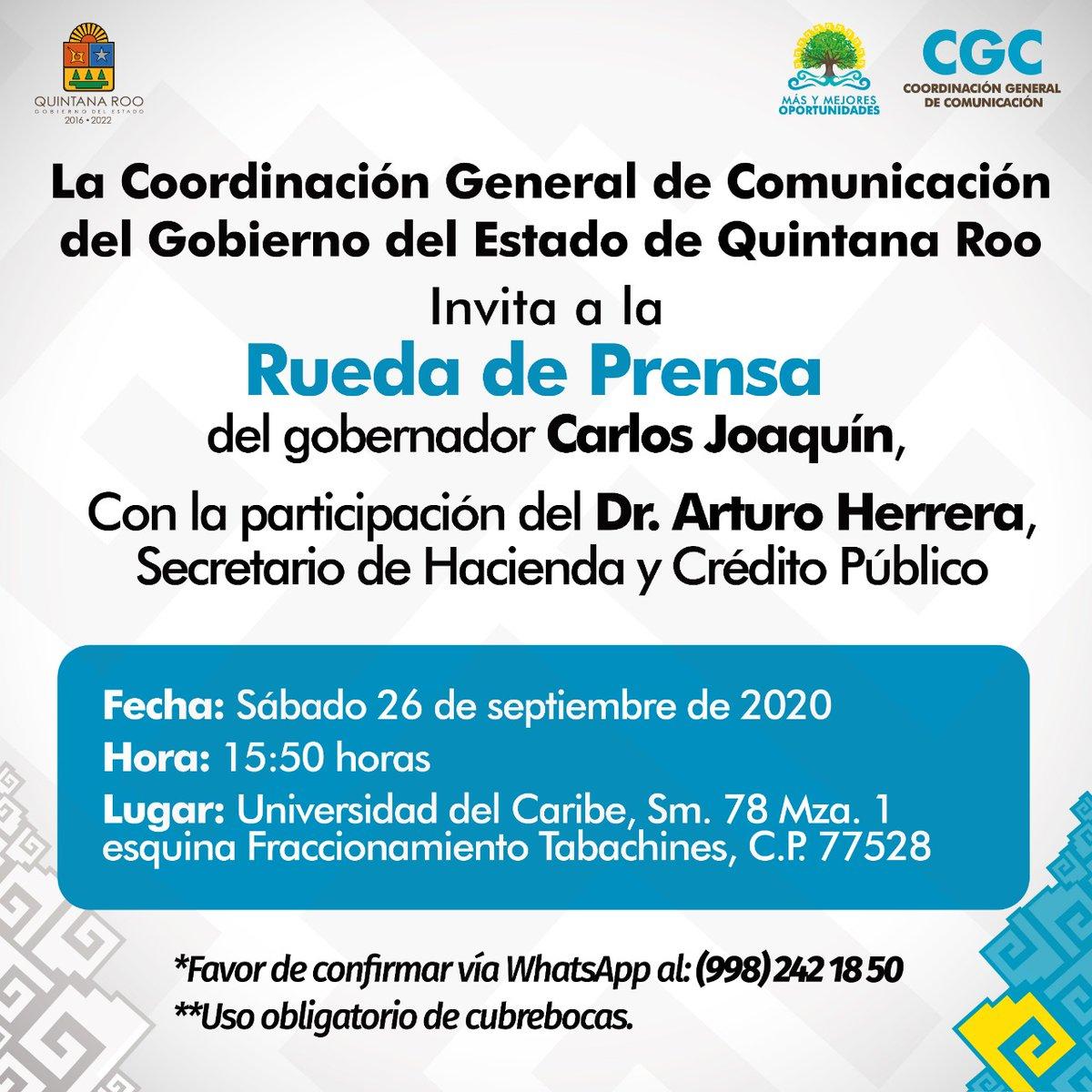 #LaVocería🗣️| Acompáñanos mañana sábado 26 de septiembre, a las 15:50 p.m, a la conferencia de prensa del gobernador @CarlosJoaquin, con la participación del Dr. @ArturoHerrera_G, titular de la  @Hacienda_Mexico  📱Sigue la transmisión en vivo en nuestro Facebook :@ComunicacionQR https://t.co/fxJkll4Vsd