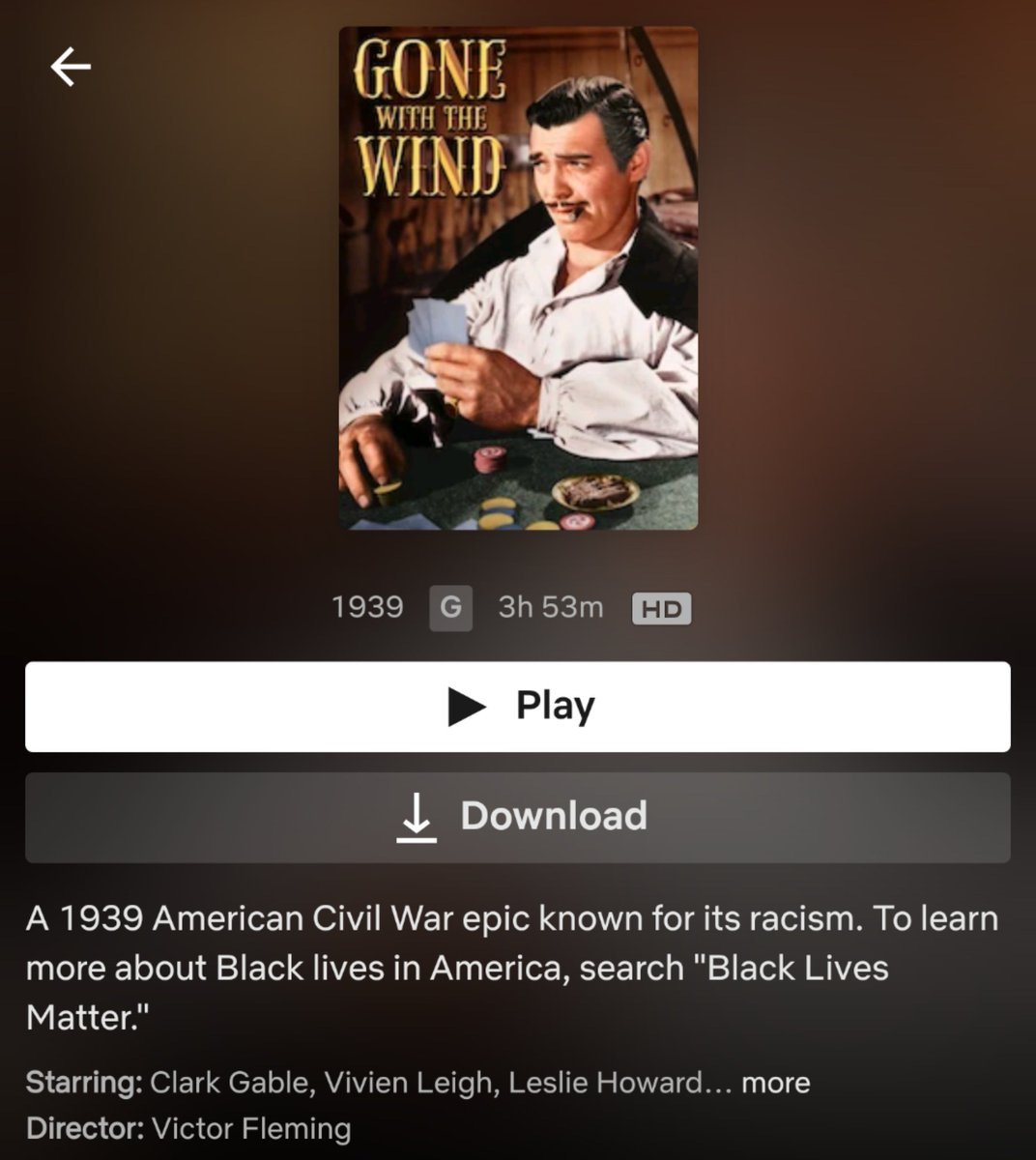 came across this 🔥 description of Gone with the Wind on @netflix today #BlackLivesMatter https://t.co/J8UYy94tCM