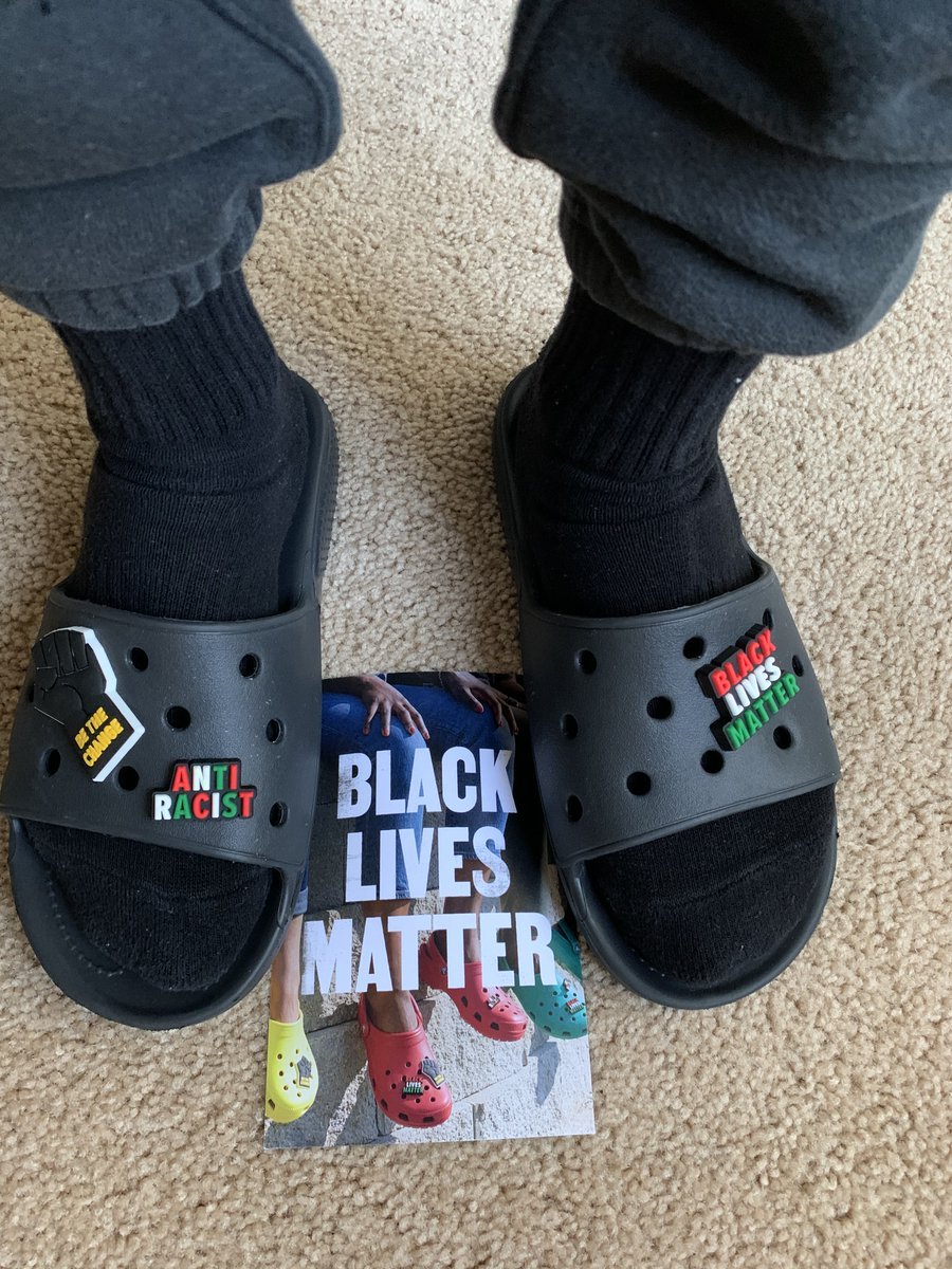 Look what came in the mail today. Thank you @Crocs for my complimentary #Jibitz!! #iLoveCrocs #iLoveMyCrocs #BlackLivesMatter #BeTheChange #AntiRacist ✊🏽✊🏾✊🏿 https://t.co/L2qsfSms4Y