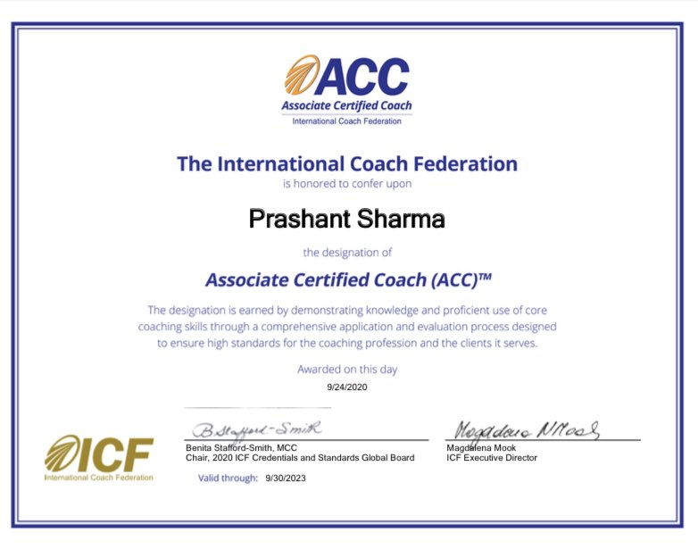 I am now ACC Credentialed by the ICF. I was already coaching for some years before I decided to get credentialed.  After 2 coaching courses, intensive mentoring and practice supervised by @ICFHQ I am ACC credentialed!!  #executivecoaching #lifecoaching #coachprashant https://t.co/jsqEGQtFiL