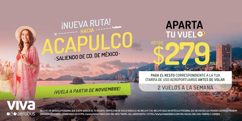¡Dile hola a la playa! 👋🌴 Vuela a partir de noviembre hacia Acapulco saliendo de Ciudad de México y aparta tu vuelo desde $279 pesos, pagando el resto correspondiente a la TUA cuando más te convenga, ingresa al link por tus boletos. 👉 https://t.co/xcb3F5AIZl https://t.co/4ktvwX8UOj