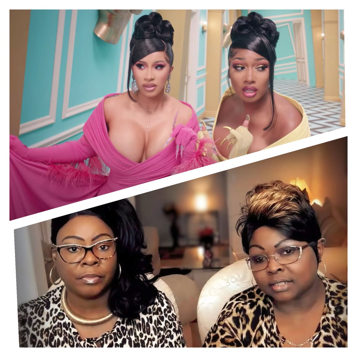 One pair is Conservative...one pair is Liberal.  Both pairs are considered media pawns by some.  Which pair should I let my daughter follow? 🤔 #TeamJesus #wisdom #wap @DiamondandSilk @MeganTheeSource @iamcardib #diamondandsilk https://t.co/2LcRtCedAs