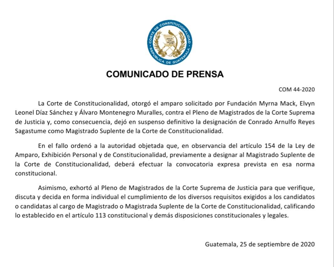 test Twitter Media - La CC otorgó un amparo contra el pleno de la CSJ que deja en suspenso definitiva la designación de Conrado Alnulfo Reyes Sagastume como magistrado suplente de la CC. https://t.co/uq337XFsT5