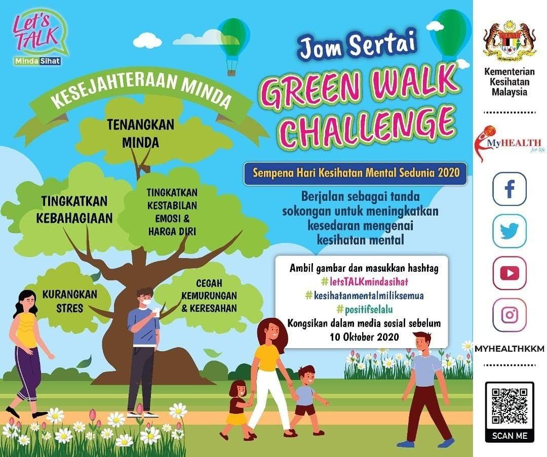 Sempena Hari Kesihatan Mental Sedunia 2020, Kementerian Kesihatan Malaysia, KKM menjemput anda sertai Green Walk Challenge tanda sokongan untuk meningkatkan kesedaran mengenai kesihatan mental.  @kementeriankesihatan https://t.co/QT6RDL63DU