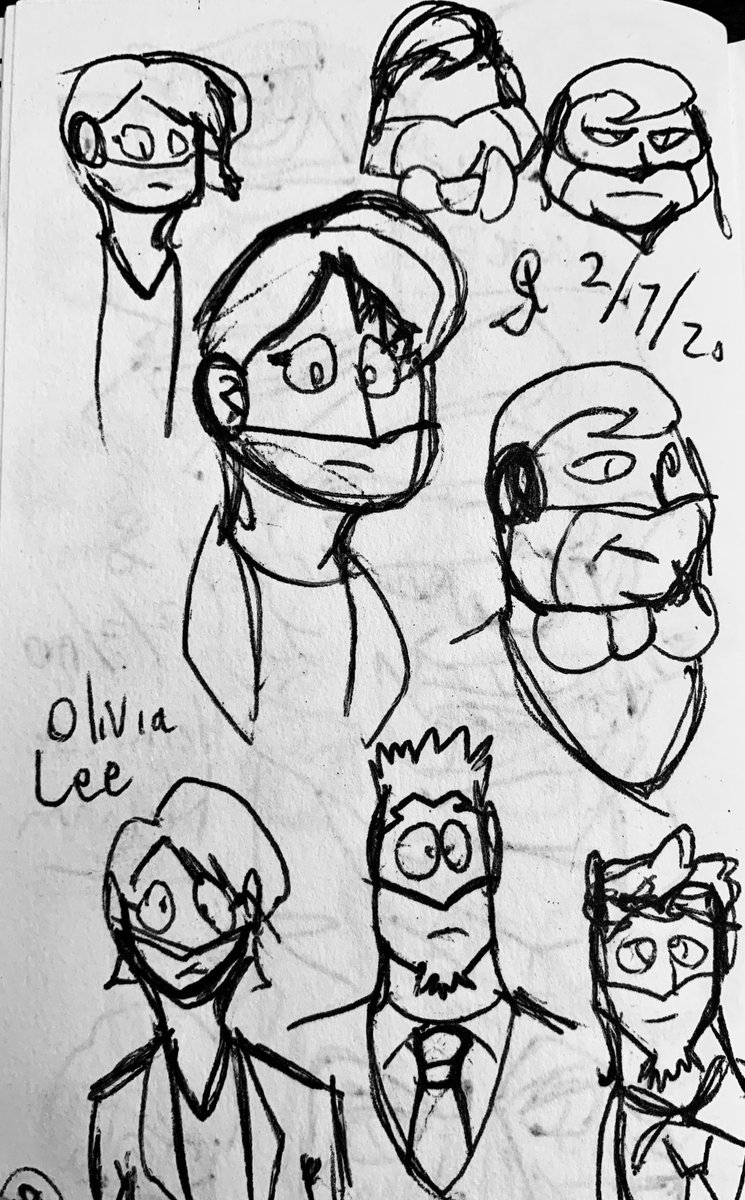 Redesigns of Team Impact characters. Such as Olivia with her new doo. Also Paul and Marlo with head shape work. Figuring out a lot for these characters.  #team #impact #agent #blue #red #purple #poc #doodle #design #character #pen #ink #sketch #drawing #story #bow #tie #suit #art https://t.co/trZJmHSZiq