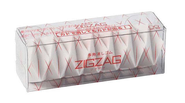 【細かい部分に】1つに45個のカド「多角消しゴム ジグザグ」登場何度でもカドが出てくる形状。日本の折り紙からヒントを得て、最新の3D技術で最適な立体を検証し、開発したという。