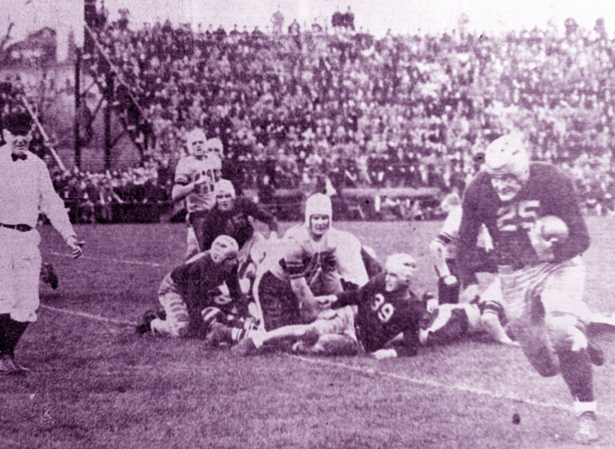 𝟭𝟬.𝟭𝟬.𝟯𝟲 Bill Osmanski's 76-yard interception return sparks the Crusaders to a 7-0 win over Dartmouth, their first victory in the series. #OTD | #GoCrossGo