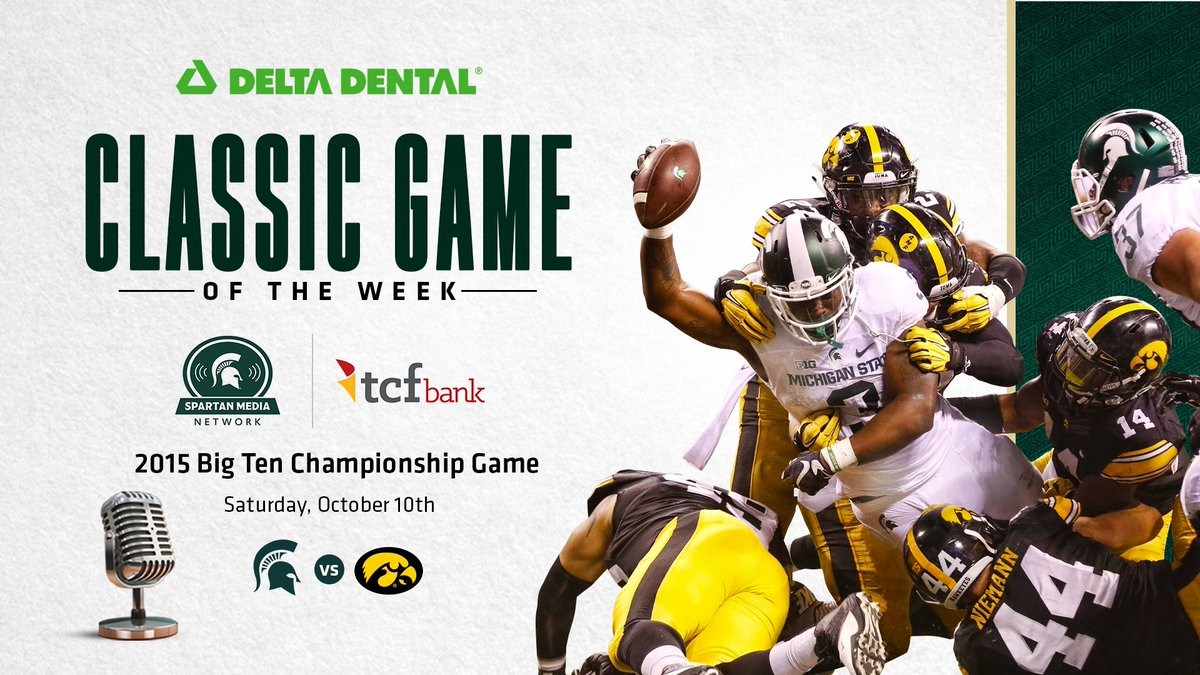 """Listen to the latest @DeltaDentalMI """"Classic Game of the Week"""" today on the @TCFBank Spartan Media Network. The series continues today from 3-6 p.m. on our flagship stations (WJR 760, WJIM 1240) with the win over Iowa in the 2015 B1G Championship Game!"""