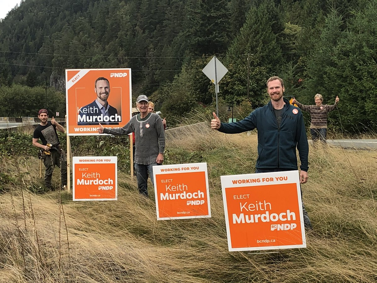 What a fun morning putting up signs for the #BCelection with a great crew!