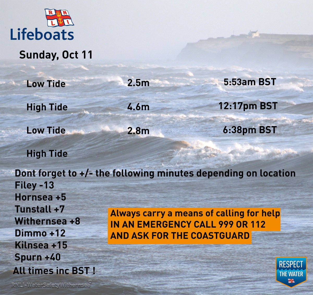 Sunday Oct 11 2020🌊⏲️ #RespectTheWater #BeWaterAware #BeBeachSafe #TideTimes #WaterSafety #Withernsea https://t.co/p94tK1UVyg